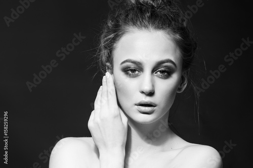 Fashion beauty girl. Gorgeous woman portrait. Black and white photo © forget_me_not_18