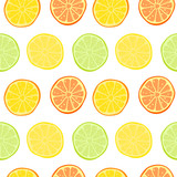Vector seamless pattern with lemons, limes, oranges and grapefruit. Citrus fruit mix. Can be use for fabric print, postcards or drink company. - 158263047