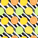 Vector seamless pattern with lemons, limes, oranges and grapefruit. Citrus fruit mix. Can be use for fabric print, postcards or drink company. - 158263086