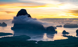 Panorama view of sea and mountain in sun rise morning time,Nature scene,Khao Samed Nang Chee Viewpoint,Phang Nga,Thailand