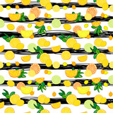 Vector seamless pattern with lemons, limes, oranges, kumquat and grapefruit. Citrus fruit mix. Can be use for fabric print, postcards or drink company. - 158265691