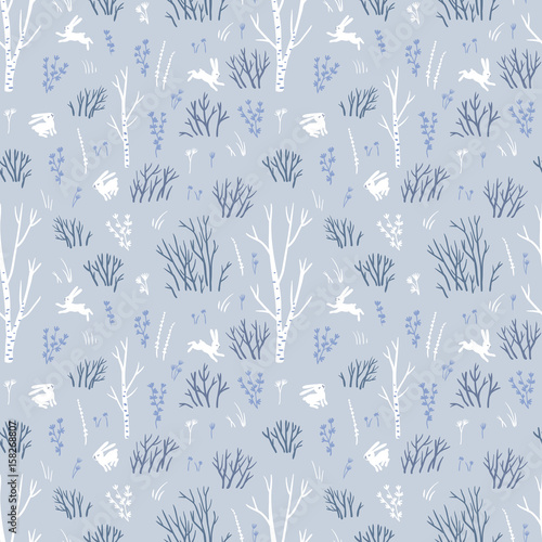 Scandinavian winter. Vector seamless pattern with northern trees and white hares. Blue fabric design. - 158268807