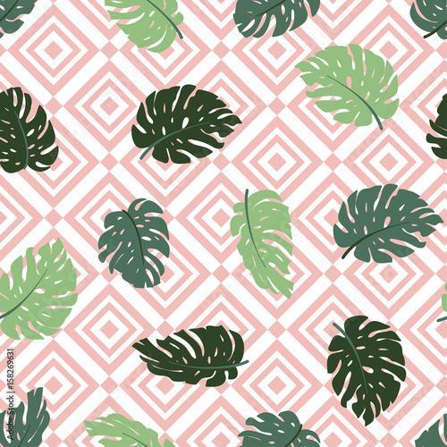 egzotyczne-liscie-i-geometryczny-ornament-bezszwowe-recznie-rysowane-tropikalny-wzor-tlo-z-monstera-i-romb