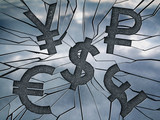 Popular currencies shaped cracks on the glass surface. Global market in danger. Crisis concept. - 158281009