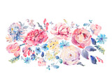 Watercolor greeting card with roses and wildflowers - 158282090