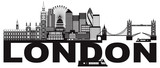 London Skyline Black and White Text vector Illustration - 158283449