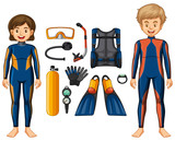 Scuba divers and different equipments