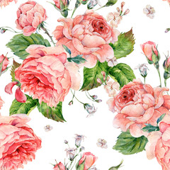 Watercolor seamless pattern with roses
