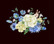 Watercolor bouquet with blue blooming wild flowers