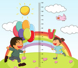 Growth mearsuring chart with girl and boy in park