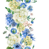 Watercolor seamless border with blue wild flowers
