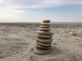 Stack of pebbles, relaxing conceptual game