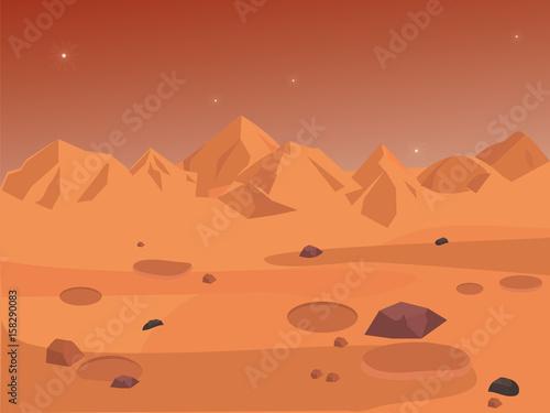 Foto op Aluminium Kosmos Mars landscape, vector space background