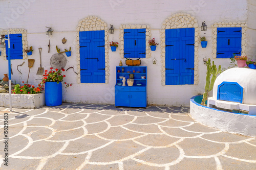 Traditional Greek style architecture in Protaras village, Cyprus island