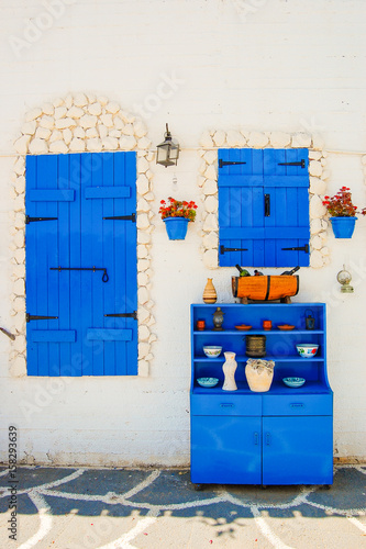 Traditional Greek style architecture in Protaras village, Cyprus island