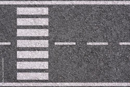 Foto Murales white lines and crosswalk on asphalt background texture