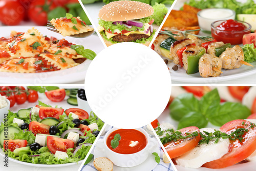 Sammlung Collage Essen Food Gerichte Restaurant Karte Speisekarte