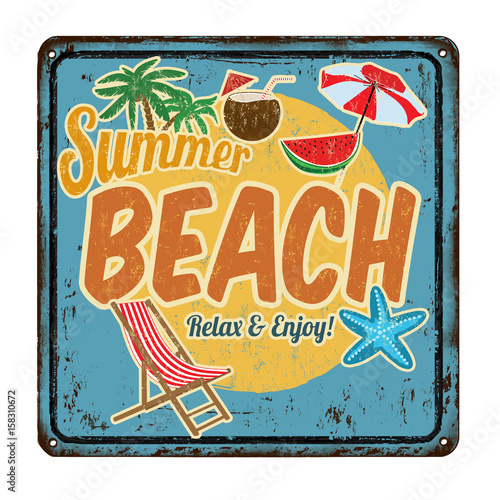 Summer beach vintage rusty retro sign