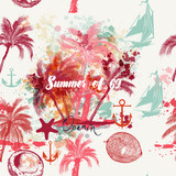 Beautiful tropical vacation pattern with pink palms and grunges. Summer and ocean rest
