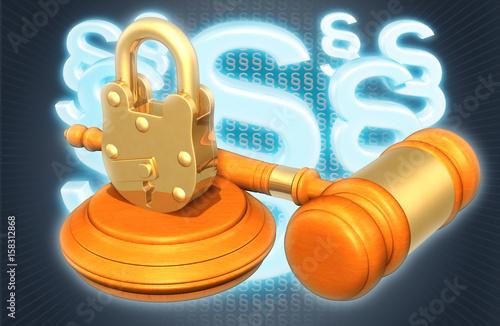 Padlock Law Concept 3D Illustration