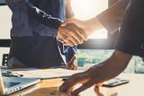 Business partnership meeting concept. Image businessmans handshake. Successful businessmen handshaking after good deal. Group support concept. - 158317030