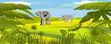 Horizontal vector illustration of african savannah - 158318804
