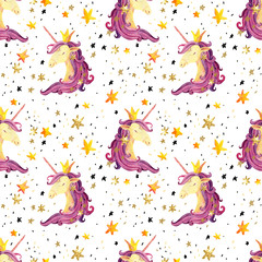 Watercolor unicorn seamless pattern.
