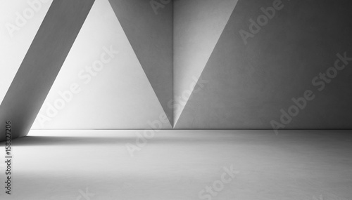 Leinwandbild Motiv Abstract interior design of modern showroom with empty white concrete floor and gray wall background - 3d rendering