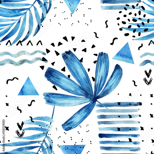 Watercolor artwork with graphic elements. - 158329003