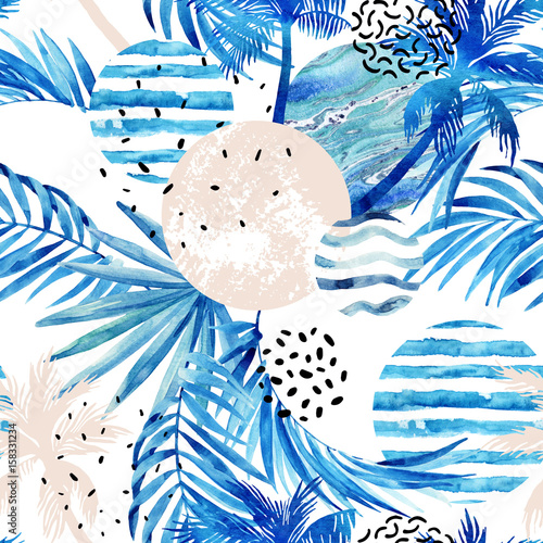 Abstract summer tropical palm trees and leaves background. - 158331234