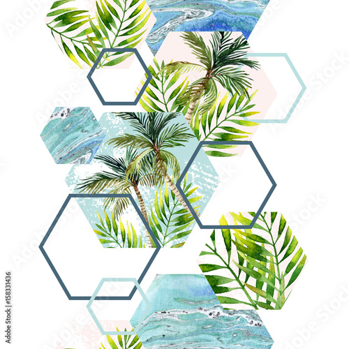 Watercolor tropical leaves and palm trees in geometric shapes seamless pattern - 158331436
