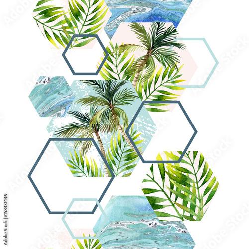 akwarela-tropikalne-liscie-i-drzewka-palmowe-z-geometrycznymi-figurami-w-powtarzalnym-wzorze