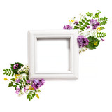 Photo frame decorated with natural plants and lilac flowers on a white background.. - 158332621