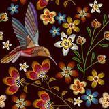 Humming bird and flowers embroidery seamless pattern. Beautiful hummingbirds and spring flowers embroidery on black background. Template for clothes, textiles, t-shirt design - 158337809