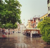 Piazza Margherita square in rainy Venice