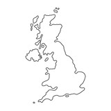 The United Kingdom of Great Britain and Northern Ireland map of black contour curves of vector illustration - 158345448