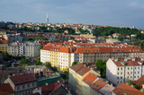 Vinohrady district, Zizkov television tower in the background, Prague, Czech Republic - aerial view of streets and quarter of Czech capital city