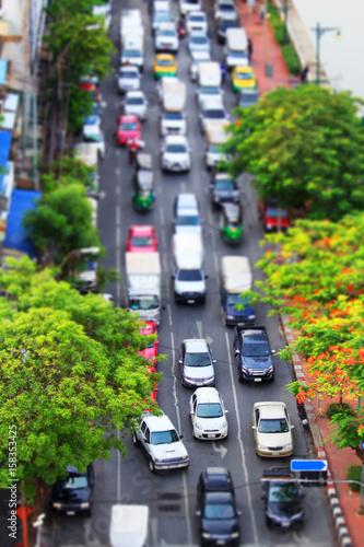 Plakat traffic jam tilt shift style