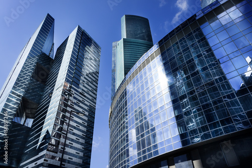 MOSCOW - APRIL 16, 2017: View of Moscow-City skyscrapers. Moscow-City (Moscow International Business Center) is a modern commercial district in central Moscow. © Mak