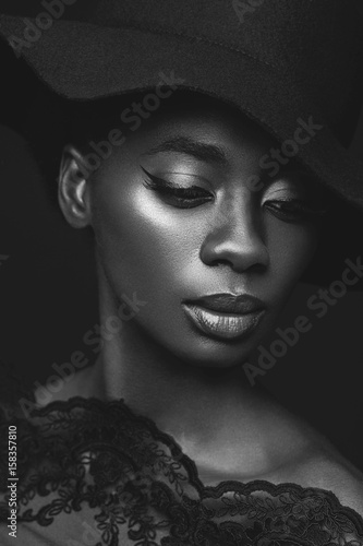 Beautiful girl in black hat Poster