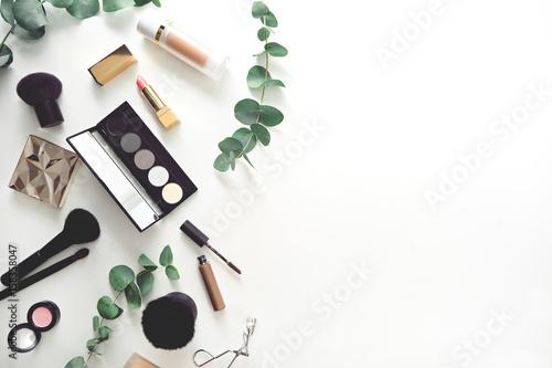 set of decorative cosmetics on white table - 158358047