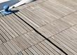 Wooden floor of a floating dock.
