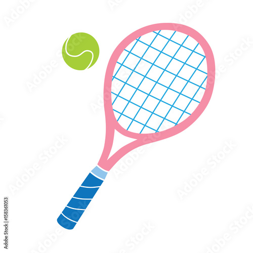 Obraz na plátně Pink tennis racket and ball vector icon.