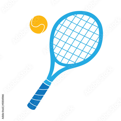 Plakát Blue tennis racket and ball vector icon