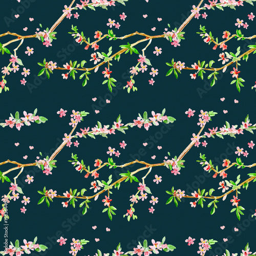 fashion seamless texture with almond blossom flowering twig. wat - 158364407