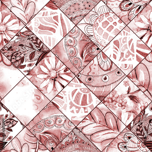 monochrome seamless texture with brown floral patchwork pattern. watercolor painting - 158364841