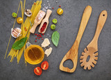 Italian food concept. Spaghetti with ingredients sweet basil ,tomato ,garlic peppercorn ,champignon,zucchini and parmesan cheese on dark background flat lay and copy space. - 158365072