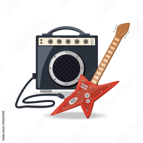 In de dag Art Studio electric guitar with amplifier speaker music vector illustration