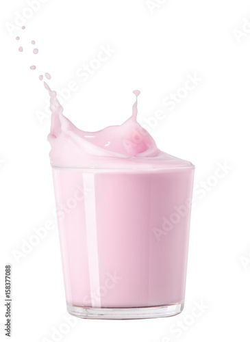 Foto op Aluminium Milkshake splashing strawberry milk