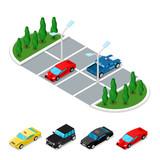 Fototapety Isometric Car Parking Area. City Transportation. Vector flat 3d illustration